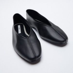 Zara New Black Leather Ballet Flats Shoes, nwt
